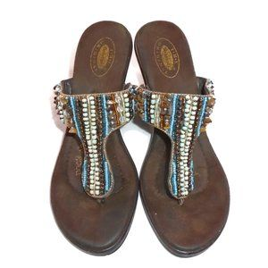 Dr. Scholl's Beaded Leather Heeled Sandals 8M